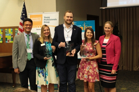 From L to R, Rob Young, Icard Merrill, YPG Chair-Elect Andrea Knies, New College of Florida Murray Devine, Community Foundation of Sarasota County Britney Guertin, Grapevine Communications Trish Entsminger, Kerkering, Barberio & Co., Presenting Sponsor